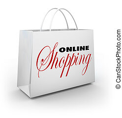 Online Shopping Bag e-Commerce Web Store - The words Online...