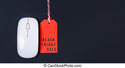 Online shopping Black friday sale text on red tag label and white mouse