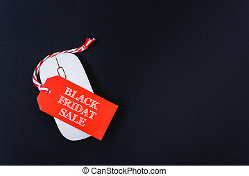 Online shopping Black Friday sale text red tag on white mouse