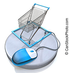 Online shopping, blue computer mouse connected to a shopping cart