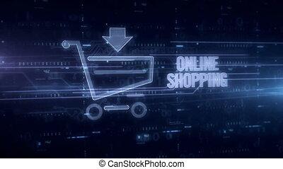 Online shopping blue hologram 3d animation. Futuristic...