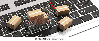 Boxes closed and a shopping cart on computer laptop. 3d illustration