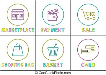 Online Shopping Buttons Round Linear Templates Set - Web...
