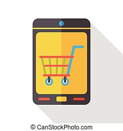 online shopping by cellphone flat icon