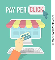 Online Shopping by Computer - Modern flat vector conceptual...