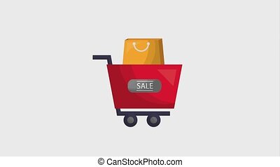 online shopping cart and bag animation