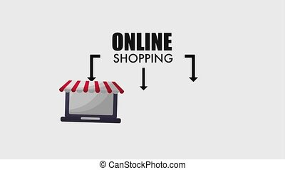 online shopping cart bag and laptop device animation hd