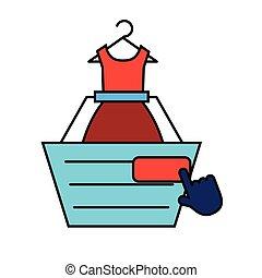 online shopping cart dress clicking