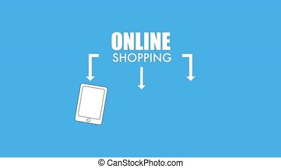 online shopping cart gift and smartphone animation hd
