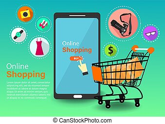 online shopping cart icons-vector
