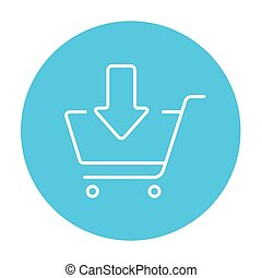 Online shopping cart line icon.