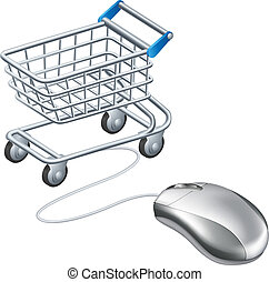 Online shopping cart mouse concept, a mouse connected to a shopping trolley, concept for online shopping