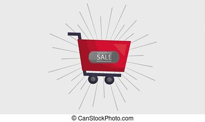online shopping cart sale animation