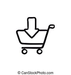 Online shopping cart sketch icon.