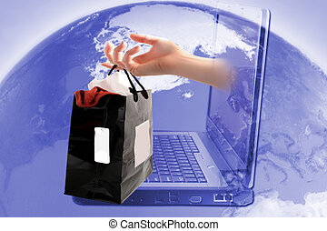 online shopping - retail shopping bag coming out of computer...