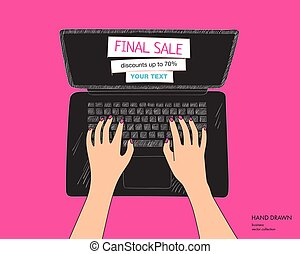 Online shopping colorful illustration with black laptop. Final sale on monitor with place for your text. Hands on keyboard. Hand drawn vector sketch isolated on white background
