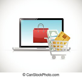 online shopping. computer concept illustration