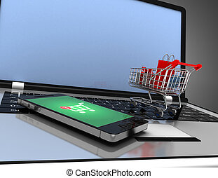 online shopping concept. 3d rendered illustration