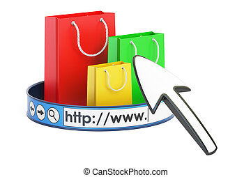 online shopping concept, 3D rendering
