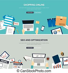 online shopping concept desktop with seo optimization flat ...