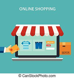 online shopping concept flat design