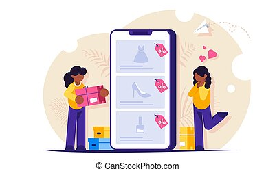 Online shopping concept. Girls make purchases in online ...