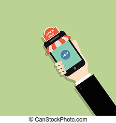 Online Shopping concept. Hand Holding Phone