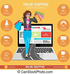 Online shopping concept infographics in vector. Woman walking from laptop