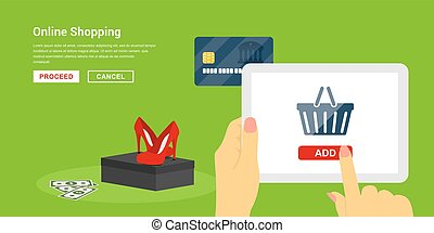 online shopping concept - picture of human hands holding ...
