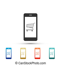 Online shopping concept. Shopping cart on screen smartphone icon isolated on white background. Concept e-commerce, e-business, online business marketing. Set elements in colored icons. Flat design. Vector Illustration