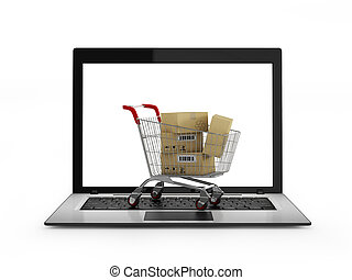 Online shopping concept. Shopping Cart with Boxes over...