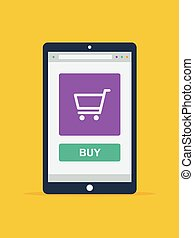 Online Shopping Concept. Tablet on Yellow Background. Flat ...