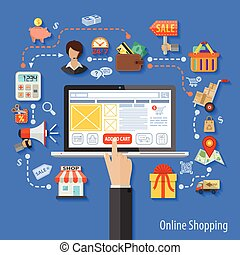 Online Shopping Concept - Vector illustration in style flat...