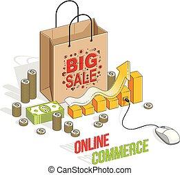 Online Shopping concept, web store, internet sales, Shop bag...