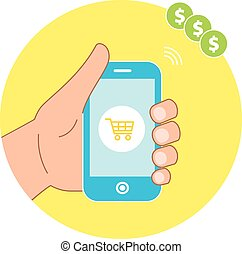 Online shopping concept with hand holding smartphone and e-commerce basket icons.