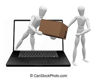 Conceptual 3D image depicting internet shopping