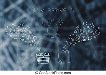 online shopping conceptual illustration: new arrivals notification with shopping basket and bags with products flying into them