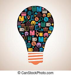Online shopping creative light bulb emblem in flat style...