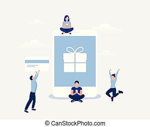 Online shopping design concept.