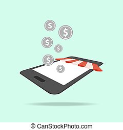online shopping, digital marketing, mobile illustration
