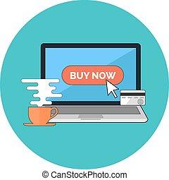 Online shopping, e-commerce concept. Flat design.