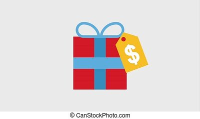 online shopping ecommerce - gift box with tag price dollar...