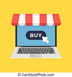 Online shopping, ecommerce. Laptop with storefront awning...