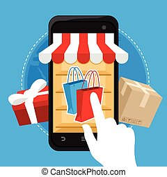 online shopping eCommerce mobile concept