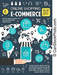 Online shopping flat banner for e-commerce design