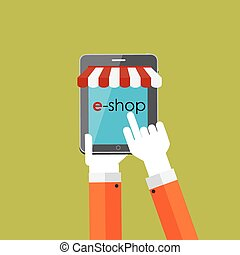 Online Shopping Flat Concept for Mobile Apps