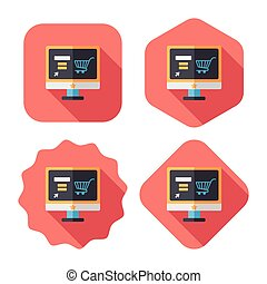 online shopping flat icon with long shadow, eps10