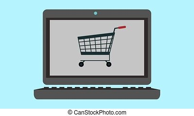 Online shopping from laptop HD animation