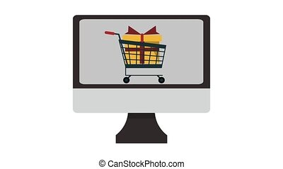 Online shopping from pc HD animation