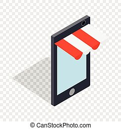 Online shopping from phone isometric icon